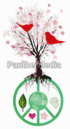 blossom tree growing from peace symbol