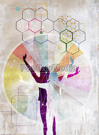 connection patterns over silhouettes of women