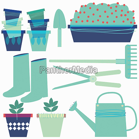 gardening equipment arranged on white background