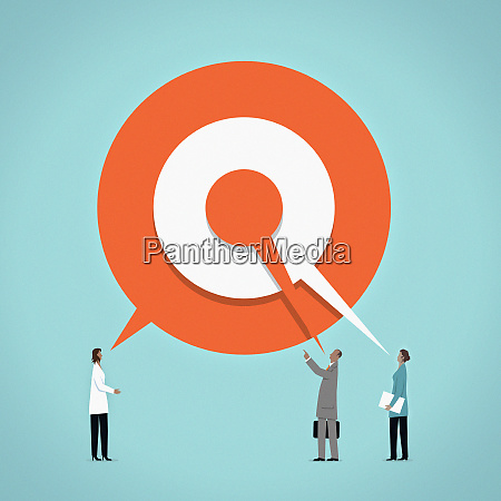 business people talking with shared target