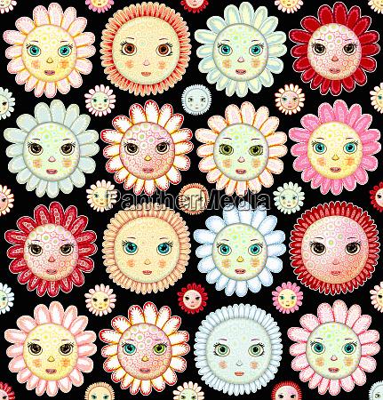 full frame flower faces pattern