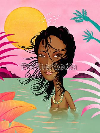 portrait of sensual beautiful woman swimming