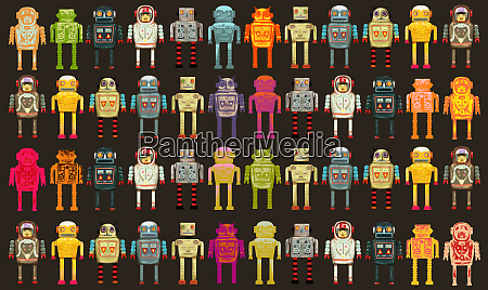 pattern of variety of robots in