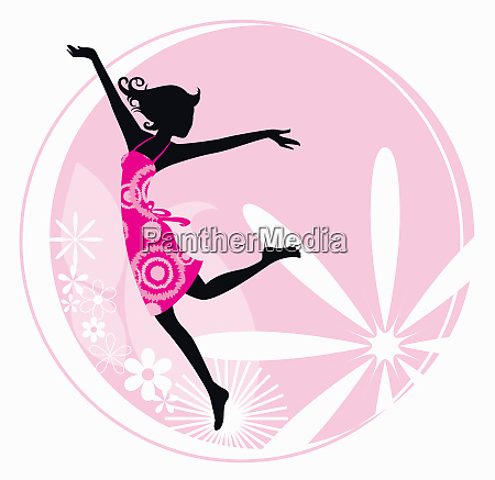 exuberant woman dancing with flower pattern