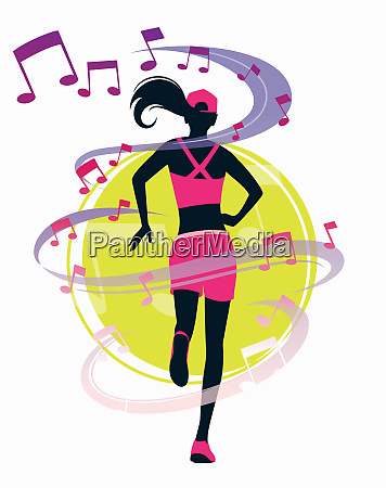 musical notes surrounding woman running