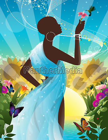 silhouette of woman holding flower for