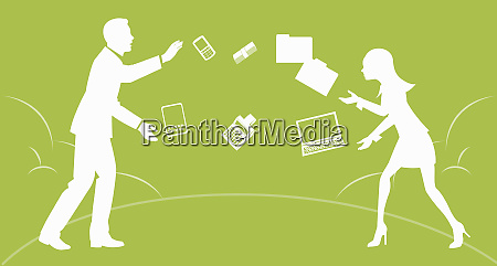 businessman and businesswoman juggling business work