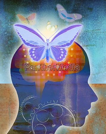butterflies emerging from glowing human brain