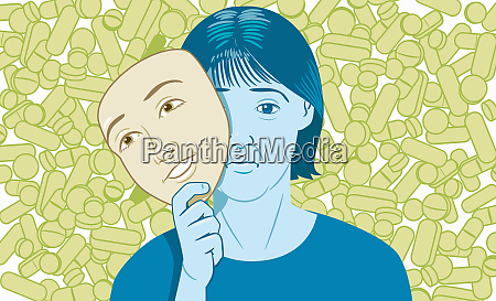 lots of pills behind woman holding