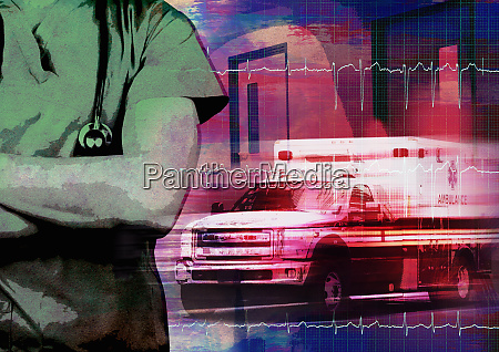 medical emergency montage with doctor and