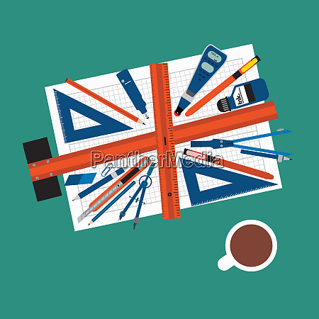 architects tools forming british flag