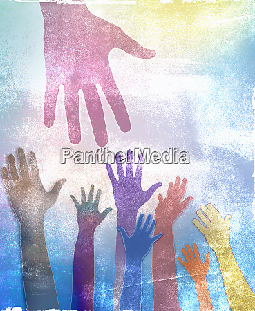 hands reaching up towards large hand