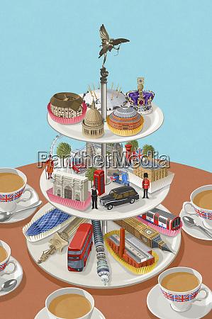 famous london landmarks on cake stand