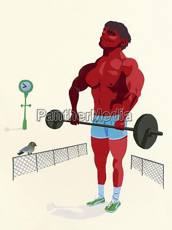bodybuilder heben langhantel