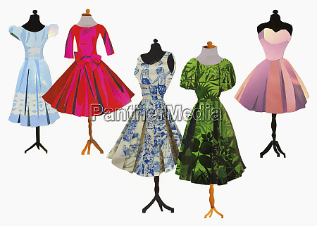 variety of dresses on dressmakers models