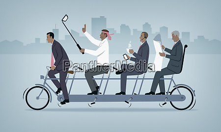 tandem fahrrad mit schlechter teamarbeit