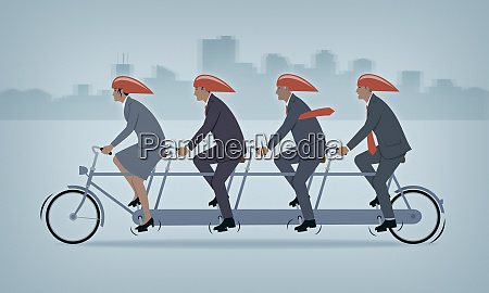 tandem bicycle with business people working