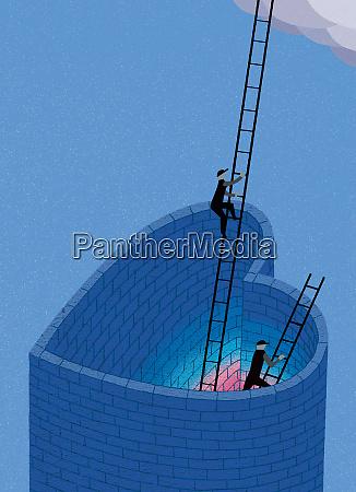 men climbing ladders out of heart