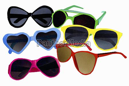 variety of multicolored sunglasses
