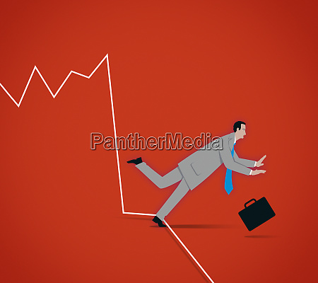 businessman tripping up over falling line