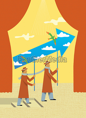 businessmen carrying together upward arrow with