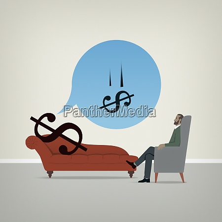 dollar sign on psychiatrists couch worrying