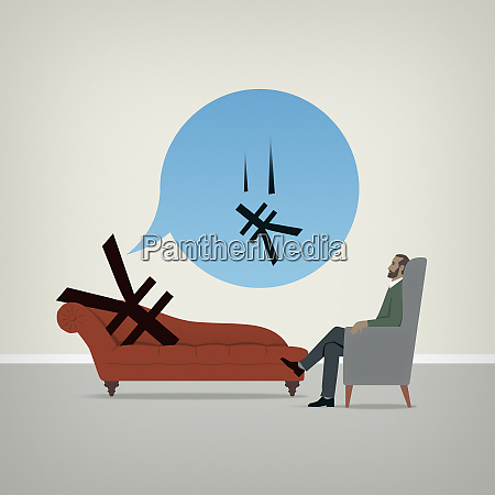 yen sign on psychiatrists couch worrying