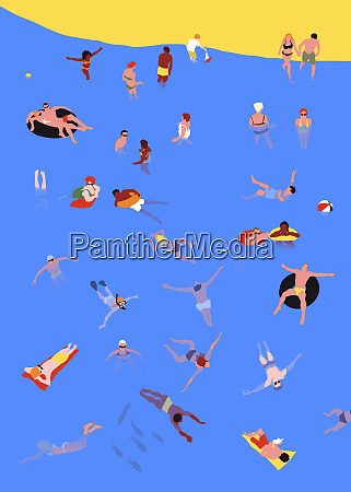 people swimming and relaxing in sea