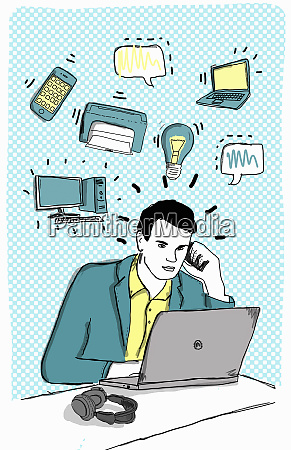 businessman communicating using laptop computer and