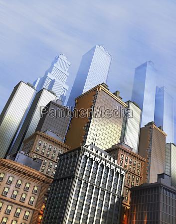 skyscraper office buildings in city financial