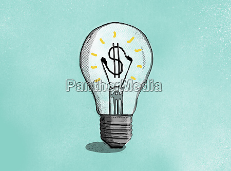 dollar sign inside illuminated light bulb