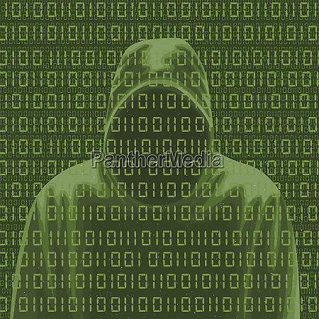 faceless man in hoodie and computer