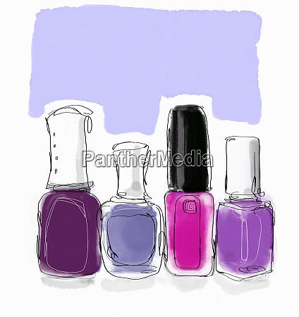 pink and purple nail varnish bottles
