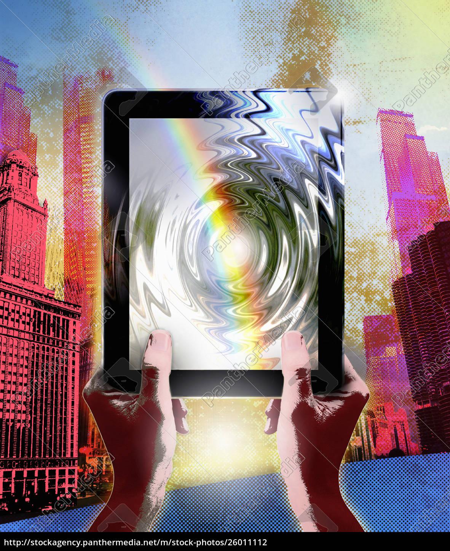 regenbogen, über, rippelnde, digitale, tablette, in - 26011112