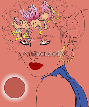 aries woman zodiac sign with flowers