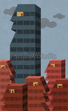 solitary businessman in window of tall