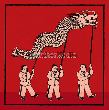 chinese businessmen supporting dragon on sticks