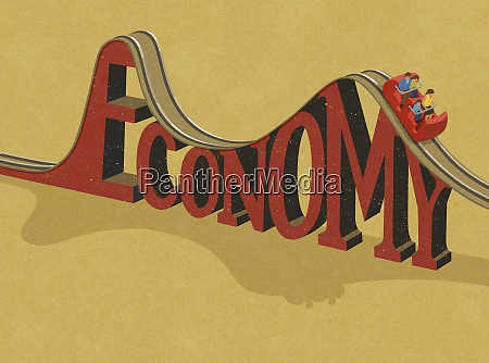 family riding economy roller coaster