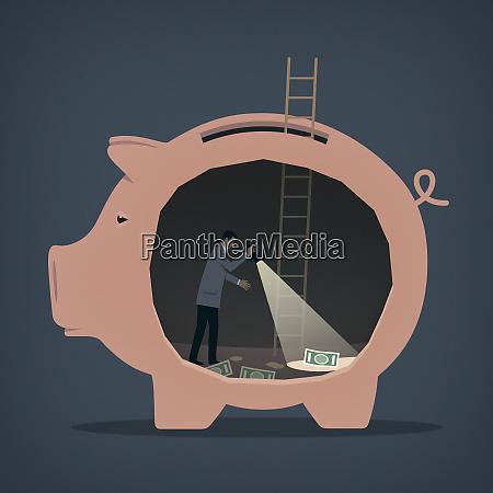mann auf der suche nach geld