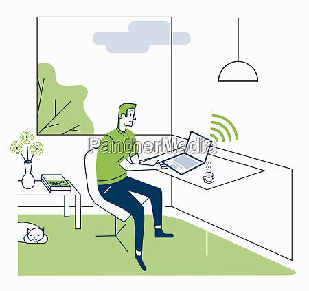businessman in working from home office