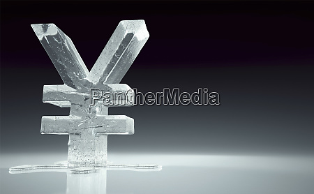 melting frozen yen sign