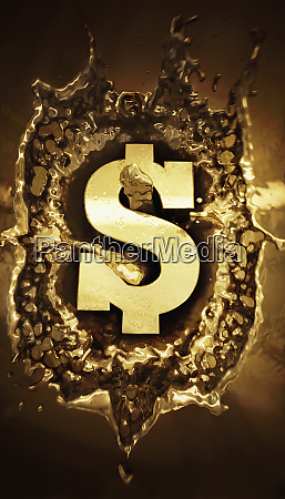 gold dollar sign splashing in molten