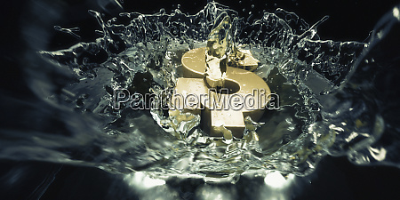 gold dollar sign falling into water