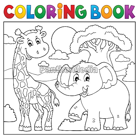 coloring book african nature topic 1