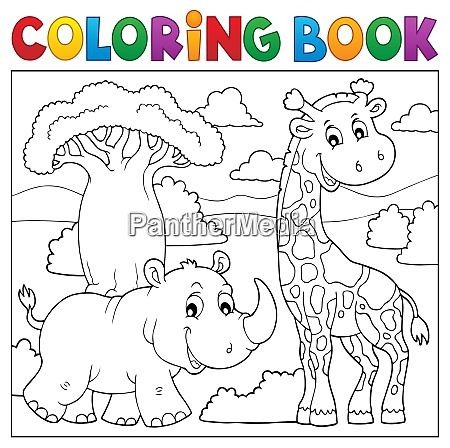 coloring book african nature topic 2