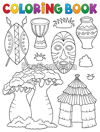 coloring book african thematics set 1
