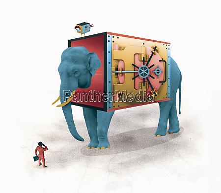 businessman comparing large elephant bank or