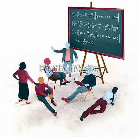 businessman explaining international finance equations to