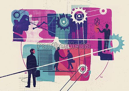 montage of businessmen ideas data cogs