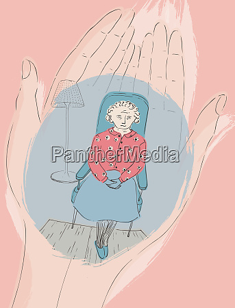 cupped hands holding elderly woman